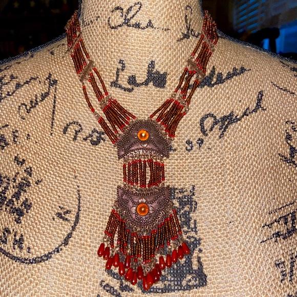 Vintage Beaded Boho Dangle & Tassel Necklace